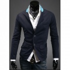 Stylish Men's Colored Collar Suit - Deep Blue (Size-L)