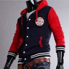 MUGE 5875 Fashionable Men's Leisure Baseball Hooded Fleece - Red + Navy Blue (Size-L)
