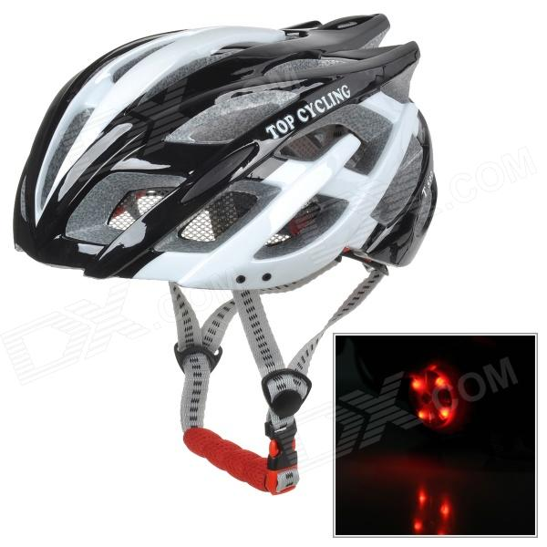 TOPCYCLING T800 Outdoor Bicycle Cycling PC Helmet w/ Red LED Flash Lamp - Black + White