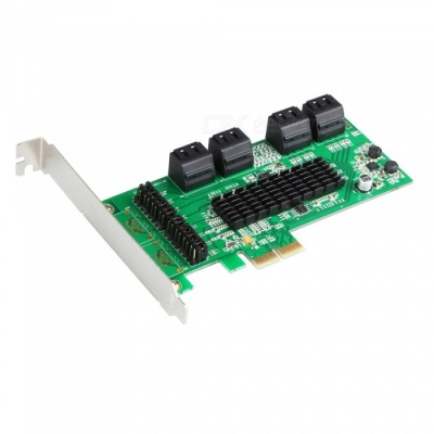 IOCREST SATA III (6Gbps) 8-Port PCI-Express Controller Card - Green