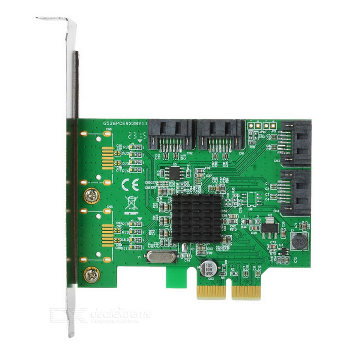 IOCREST Marvell9230 Chipset PCI-Express to SATA 6Gbps RAID Card - GreenForm  ColorGreenBrandIOCRESTQuantity1 DX.PCM.Model.AttributeModel.UnitMaterialFR4Supports SystemWin xp,Win vista,Win7 32,Win7 64,Win8 32,Win8 64,LinuxOther FeaturesHot plug and Hot Swap. Supports Native Command Queue (NCQ) Supports Port Multiplier FIS based switching or command based switching. Compatible with SATA 6G, 3G and 1.5G Hard Drives. Support RAID function: RAID 0, RAID 1, RAID10, and HyperDuo. Note: Not Supported RAID on PMPacking List1 x SATA III (6Gbps) 4-port PCI-Express Controller Card 1 x English User Manual 2 x SATA Cable (40cm)1 x Driver CD 1 x Low Profile Bracket (8cm)<br>