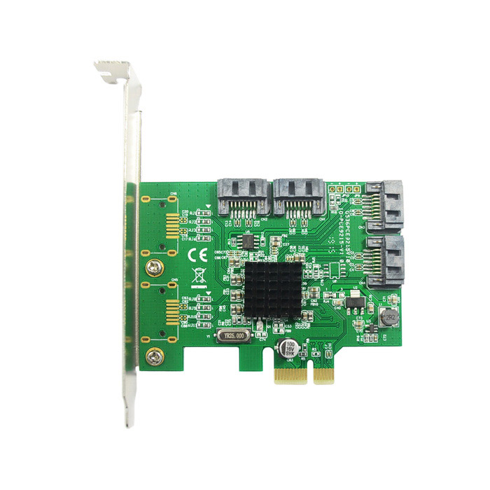 цена на IOCREST Marvell 88SE9215 Chipset SATA III (6Gbps) 4-Port PCI-Express Controller Card - Green