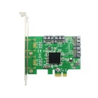 IOCREST Marvell 88SE9215 Chipset SATA III (6Gbps) 4-Port PCI-Express Controller Card - Green