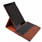 F85-360 Detachable Wireless Bluetooth V3.0 64-Key Keyboard w/ PU Leather Case for Ipad AIR - Brown