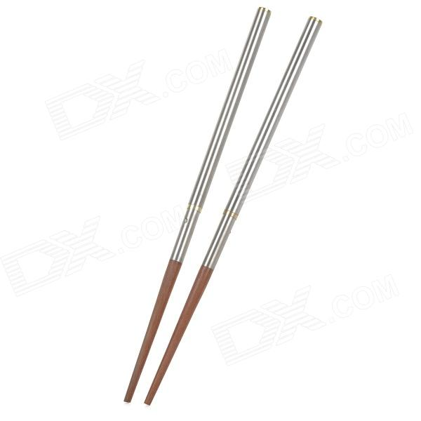 AceCamp 1572 Portable Outdoor Stainless Steel + Wood Folding Chopsticks - Silver