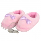 Bowknot Style USB Plush + Cloth Warm Shoes - Pink