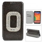 Shining Protective PU Leather + Rhinestone + Plastic Case for Samsung Galaxy Note 3 N9000 - Black