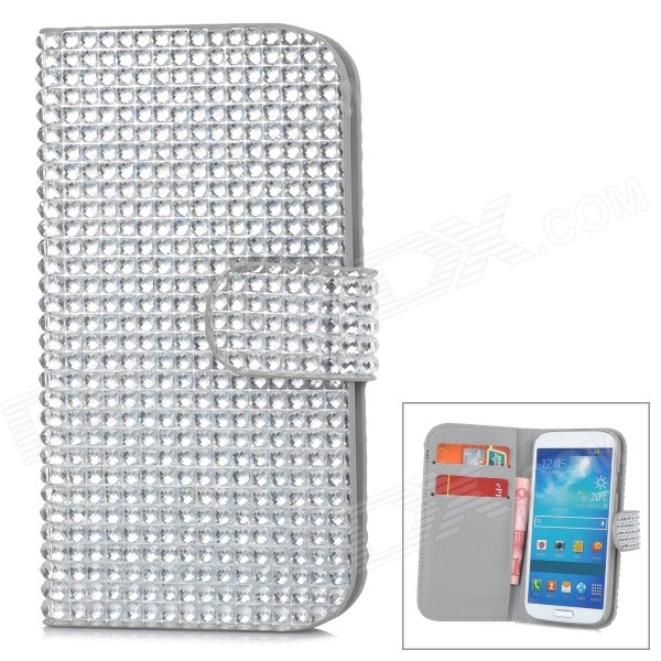 Protective PU + Plastic Rhinestone Case w/ Card Slot for Samsung Galaxy S4 - Silver cm001 3d skeleton pattern protective plastic back case for samsung galaxy s4