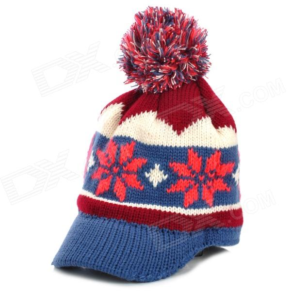 Snow Pattern muoti Wool Lämmin Cap for Women - Harmaa + Red + Monivärinen
