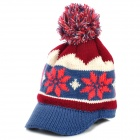 Snow Pattern Fashion Wool Warm Cap for Women - Grey + Red + Multicolored