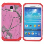 Branch Pattern Protective Plastic + TPU Case for Samsung Galaxy S4 i9500 - Red + Deep Pink