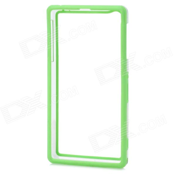 Protective PC + TPU Bumper Frame Case for Sony Xperia Z1 L39h - Green + Transparent protective tpu   pc bumper frame for lg