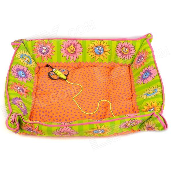 Flower Pattern Soft Cloth Pet Bed Mat w/ Catnip Bee Toy for Cat / Dog - Orange + White (Large-Size) super soft frisbee ufo style silicone indoor outdoor toy for pet dog light green