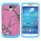 Branches Pattern Plastic + TPU Back Case for Samsung i9500 / S4 - Deep Pink + Blue