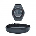CHEERLINK J-W140 PU Leather Band Digital Wireless Heart Rate Watch - Black (1 x CR2032)