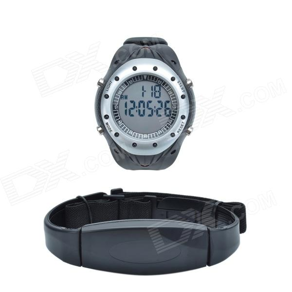 CHEERLINK WP120 PU Leather Band Pedometer Digital Wireless Heart Rate Watch - Black + Silver