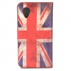 un 33 UK Flag Motif PU étui de protection w / stand pour Google Nexus 5 E980 - Rouge + Bleu + multicolore