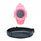 CHEERLINK WP123 Detachable PU Leather Band Pedometer Digital Wireless Heart Rate Watch -Pink+ Silver