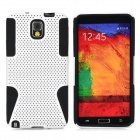 Mesh Style Protective Plastic + TPU Back Case for Samsung Galaxy Note 3 N9000 - White + Black