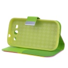 Protective PU Leather Case for Samsung Galaxy S3 i9100 - Yellow + Pink + Green