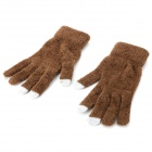 ZS-01 3-Finger Capacitive Screen Touching Hand Warmer Gloves for iPhone / iPad - Brown (Pair)