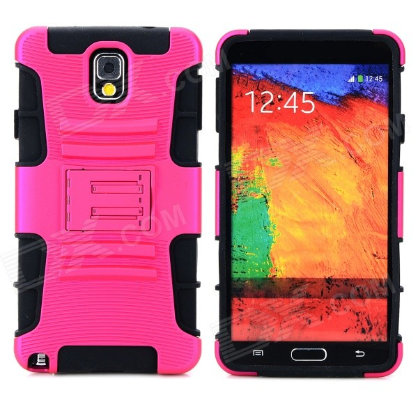 Protective Hard Plastic Back Case w/ Stand for Samsung Galaxy Note 3 N9000 - Deep Pink + Black pudini wb note 3 protective pc back case for samsung galaxy note 3 white