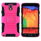 Protective Hard Plastic Back Case w/ Stand for Samsung Galaxy Note 3 N9000 - Deep Pink + Black