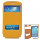 Stylish Protective PU Leather Case w/ Dual Display Window for Samsung i9500 - Yellow