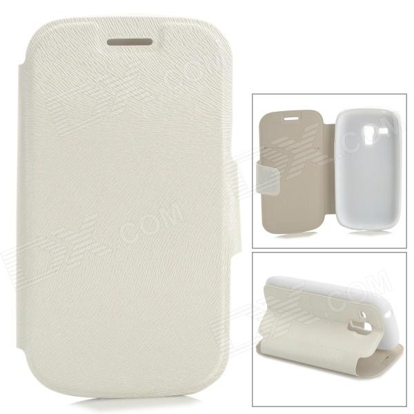 Protective PU Leather + TPU Case w/ Card Holder Slot for Samsung Galaxy S3 Mini i8190 - White