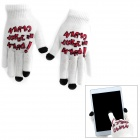 YW-01 English Word Pattern 3-Finger Capacitive Screen Touching Gloves - White + Black
