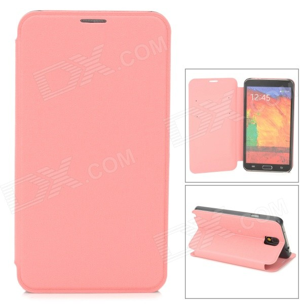 Oracle Style Protective PU Leather Case w/ Card Holder Slots for Samsung Galaxy Note 3 - Pink oracle style protective pu leather case w card holder slots for samsung galaxy note 3 white