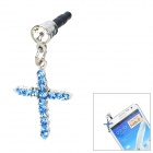Fashion Cross Style w/ Rhinestones Universal Anti-Dust Plug - Sapphire Blue + Silver