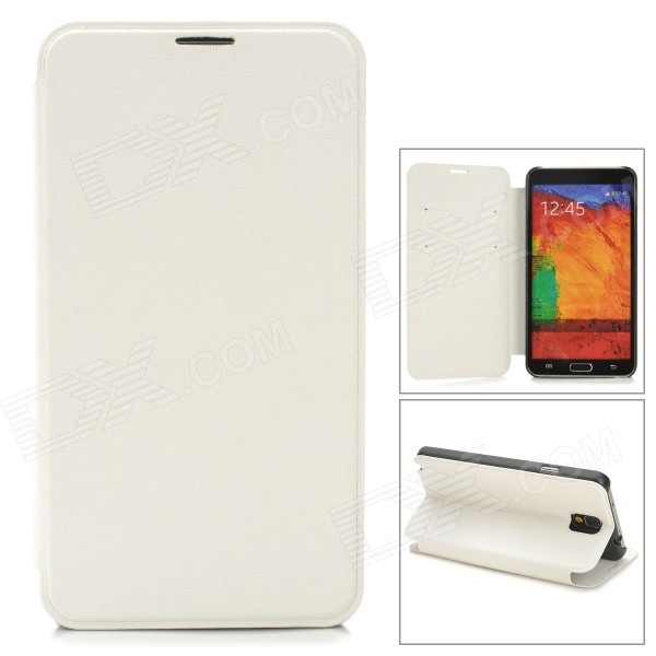 Oracle Style Protective PU Leather Case w/ Card Holder Slots for Samsung Galaxy Note 3 - White oracle style protective pu leather case w card holder slots for samsung galaxy note 3 white