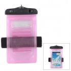 Waterproof Bag w/ Armband / Strap for Samsung N7100 / N9000 / i9300 / i9500 - Pink + Black