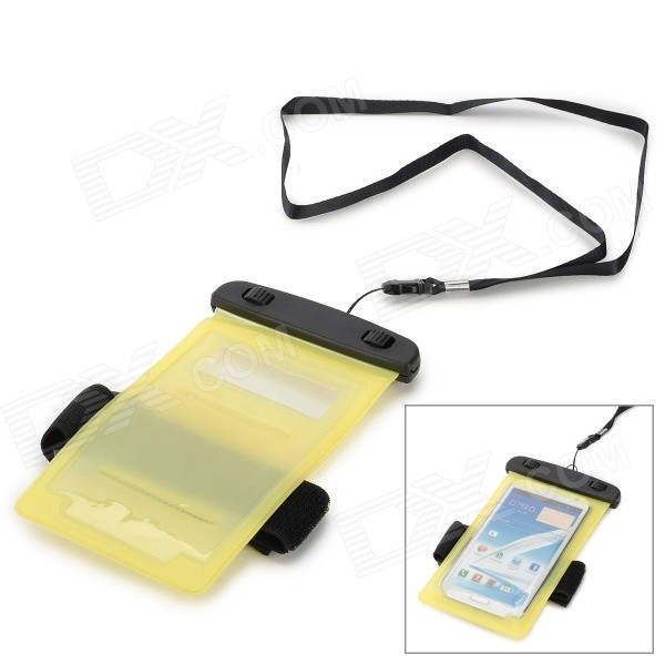 купить Protective Waterproof PVE Bag Case for Samsung Galaxy Note 2 / Note 3 / S3 / S4 - Yellow + Black недорого
