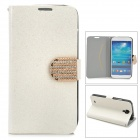 Shining Protective Rhinestone PU Leather Case for Samsung Galaxy S4 - White + Golden