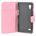 A-336 Stylish Protective PU Leather Case w/ Card Holder Slots for LG L9 - Pink