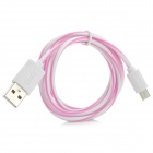Universal Micro USB Male to USB 2.0 Male Data Sync + Charging Cable - White + Light Pink (100cm)
