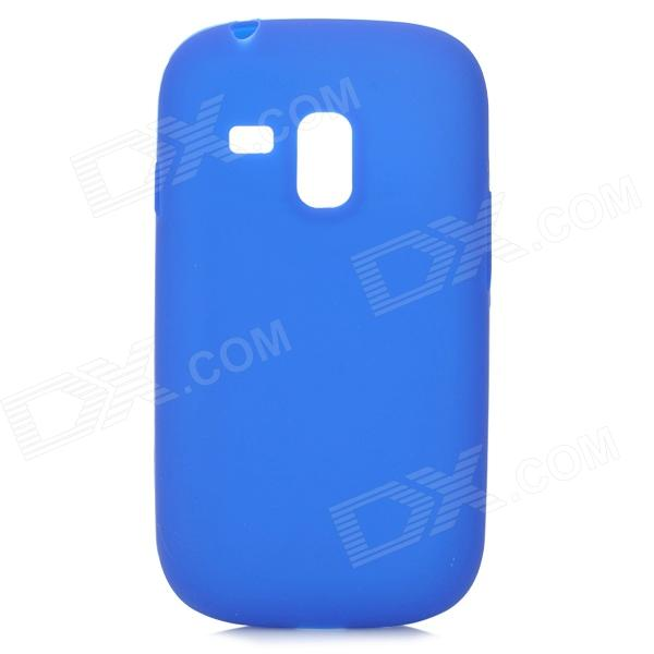 Protective Silicone Back Case w/ Screen Protector for Samsung Galaxy S3 Mini i8190N / i8190 - Blue