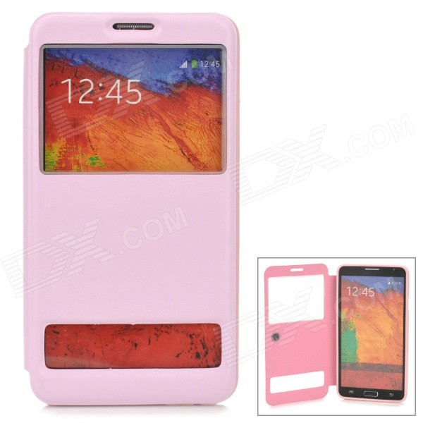 Stylish Protective PU Leather Case w/ Dual Display Window for Samsung Galaxy Note 3 - Pink protective pu leather case w display window for samsung galaxy note 3 n9000 white