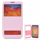 Stylish Protective PU Leather Case w/ Dual Display Window for Samsung Galaxy Note 3 - Pink