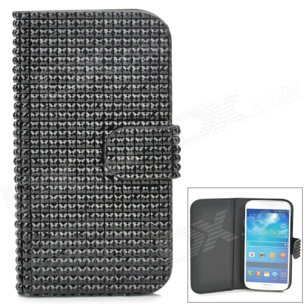 Stylish Protective Rhinestone PU Leather Case w/ Card Holder Slots for Samsung Galaxy S4 - Black protective flip open pu leather case w holder card slots for samsung galaxy s4 mini i9190 black