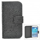 Stylish Protective Rhinestone PU Leather Case w/ Card Holder Slots for Samsung Galaxy S4 - Black
