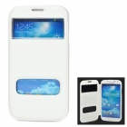 Stylish Protective PU Leather Case w/ Dual Display Window for Samsung i9500 - White