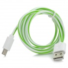 Universal Micro USB Male to USB 2.0 Male Data Sync + Charging Cable - White + Green (100cm)