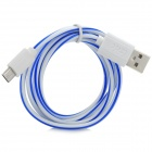 Universal Micro USB Male to USB 2.0 Male Data Sync + Charging Cable - White + Blue (100cm)