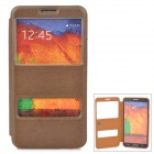 Stylish Protective PU Leather Case w/ Dual Display Window for Samsung Galaxy Note 3 - Coffee