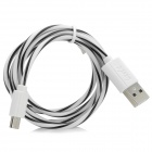Universal Micro USB Male to USB 2.0 Male Data Sync + Charging Cable - White + Black (100cm)