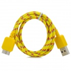 Micro USB 3.0 9pin Braid Nylon Data / Charging Cable for Samsung Note 3 - Yellow (100cm)