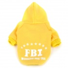 FBI Pattern Cotton Clothes w/ Hood for Pet Dog - Yellow (Size-M)